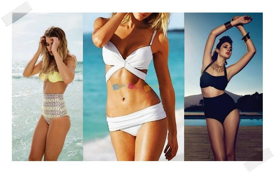 2015 Plaj Modası Yüksek Belli Bikini Modelleri