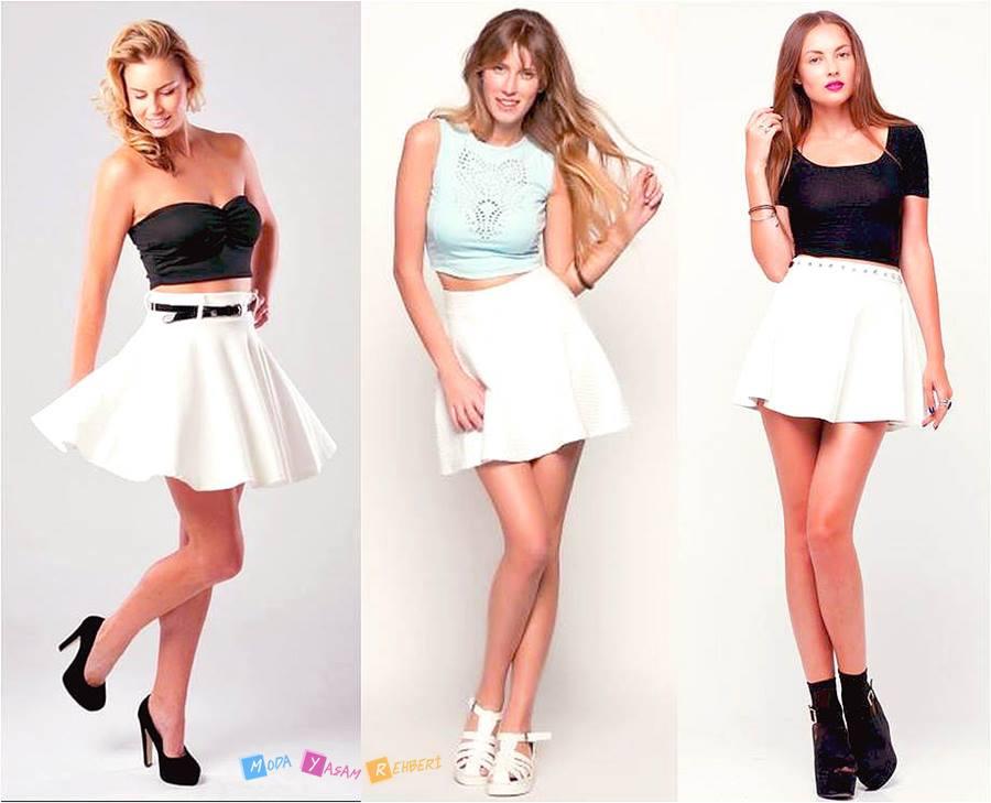 2015 Kloş Beyaz Etek Modelleri