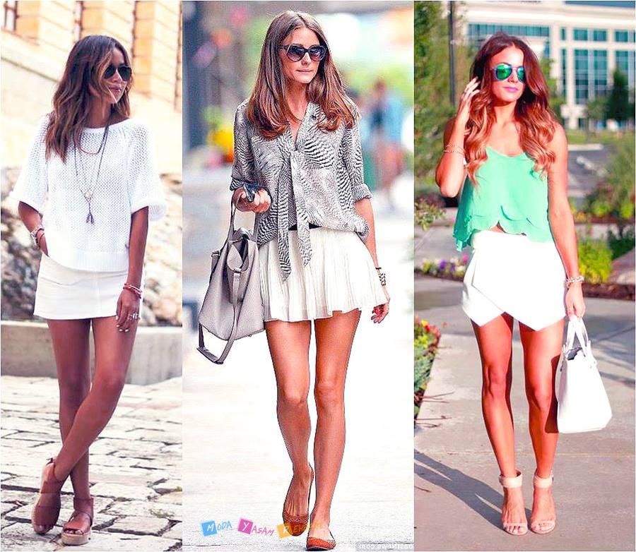2015 Mini Beyaz Etek Modelleri