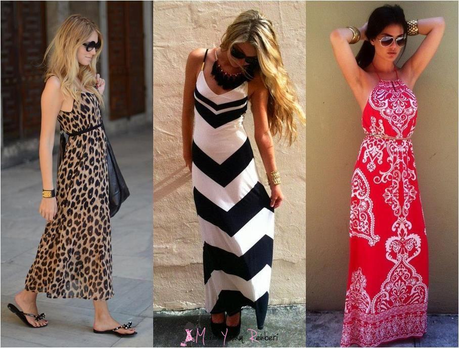Desenli Uzun Askılı Elbise Modelleri