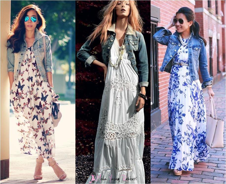 Kot Ceket Kombinli Uzun Askılı Elbise Modelleri