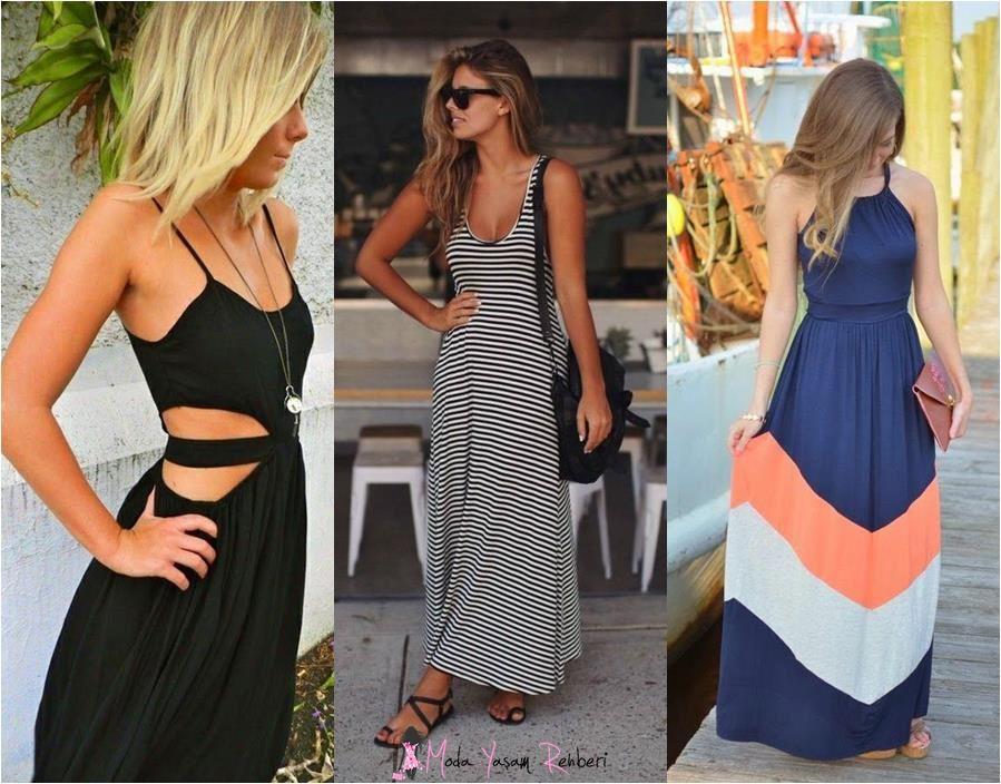 Koyu Renk Uzun Askılı Elbise Modelleri