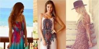 Renkli Uzun Askılı Elbise Modelleri